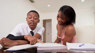 Ebony Tutor Fucks Student in Front of His Mom